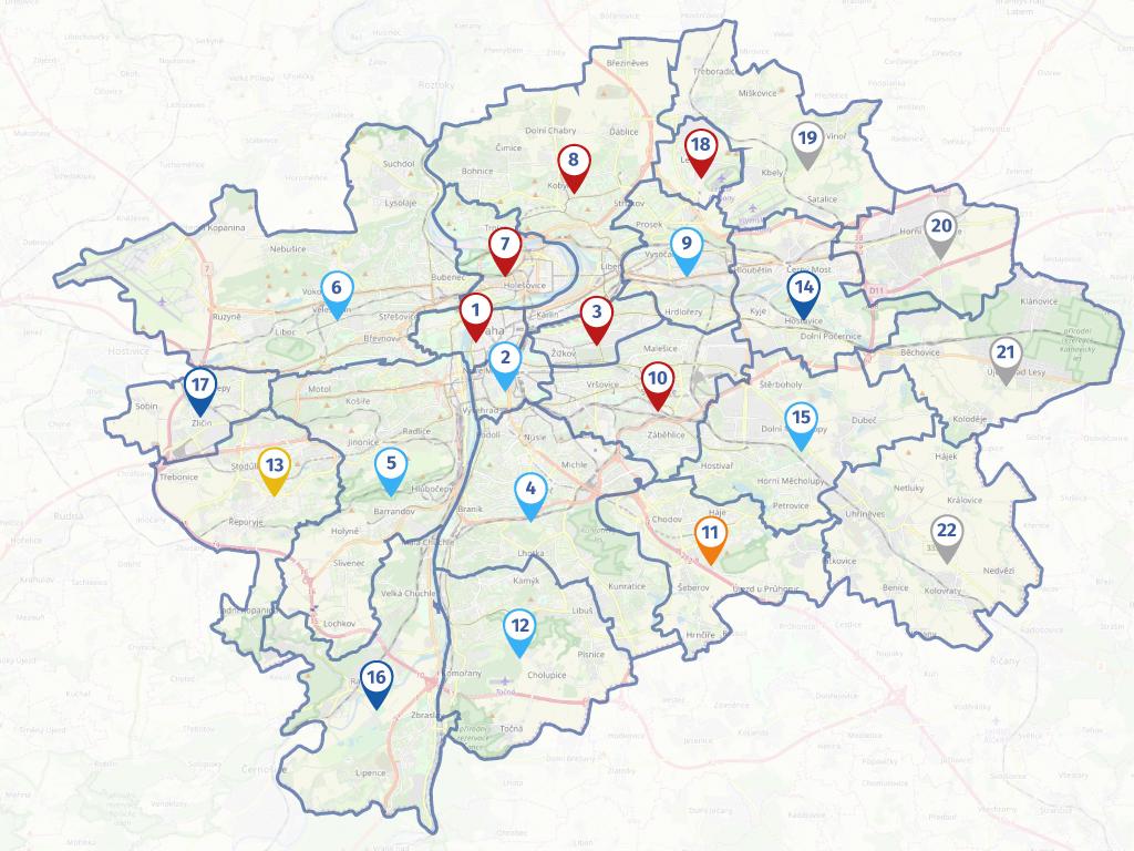 Mapa městských částí
