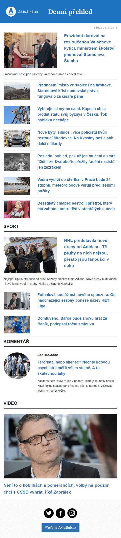 Náhled newsletteru Aktuálně.cz